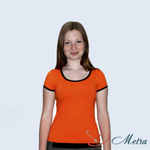 Женская футболка оранжевая с бейкой