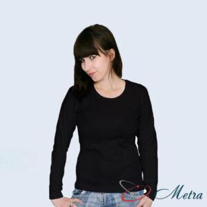 Женская футболка с длинным рукавом черная