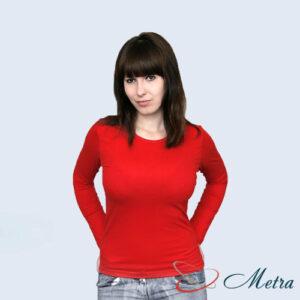 Женская футболка с длинным рукавом красная